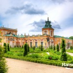 The royal Wilanow Palace in Warsaw, Poland. View from Upper Garden
